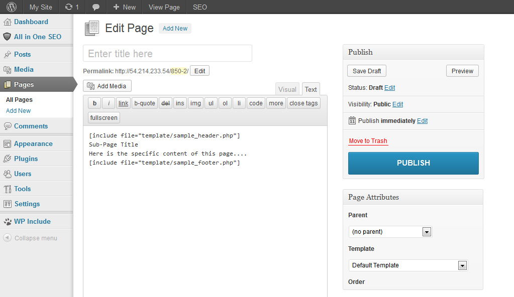 add new page How to Include PHP file to WordPress