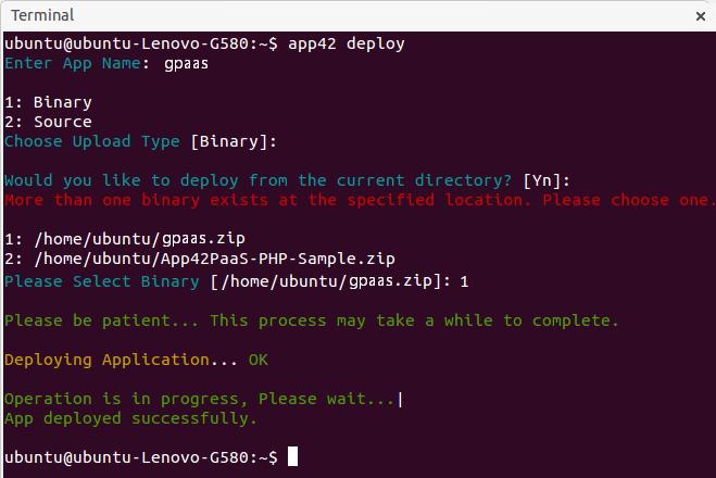 gpaas deploy binary cli Getting Started with GPaaS on App42 PaaS