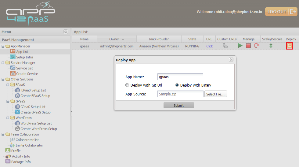 gpaas deploy binary hq Getting Started with GPaaS on App42 PaaS