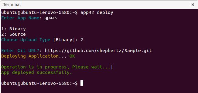 gpaas deploy git cli Getting Started with GPaaS on App42 PaaS