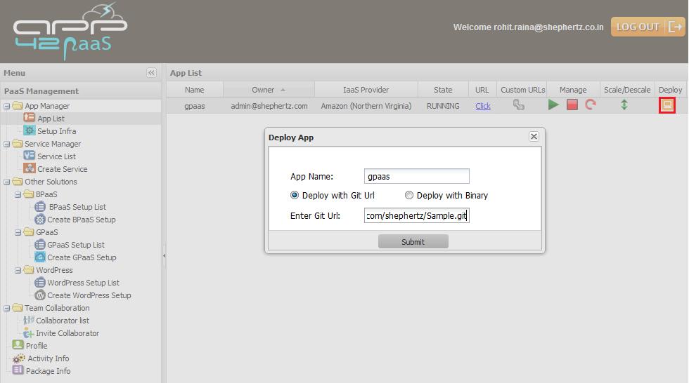 gpaas deploy git hq Getting Started with GPaaS on App42 PaaS