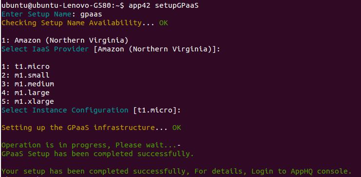 gpaas setup cli Getting Started with GPaaS on App42 PaaS