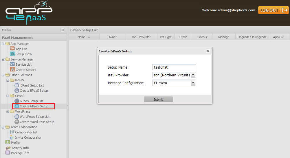 gpaas setup hq Getting Started with GPaaS on App42 PaaS