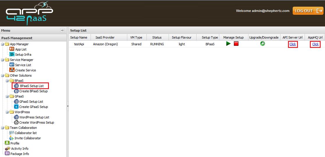 bpaas list Getting Started with BPaaS on App42 PaaS