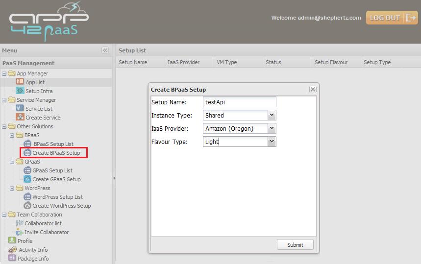 hq create bpaas Getting Started with BPaaS on App42 PaaS