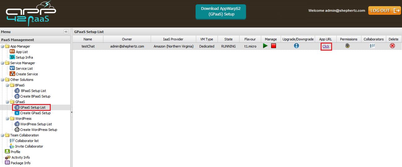 hq gpaas list Getting Started with GPaaS on App42 PaaS