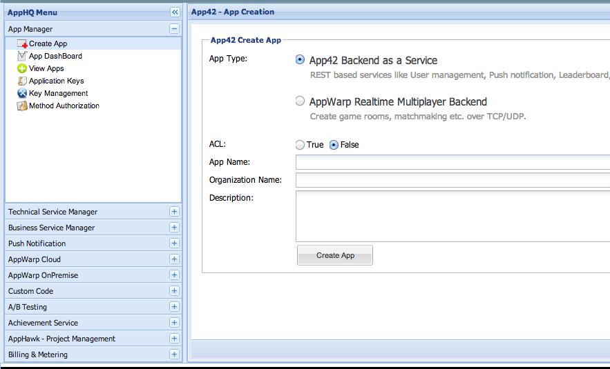 create an App on App42 platform