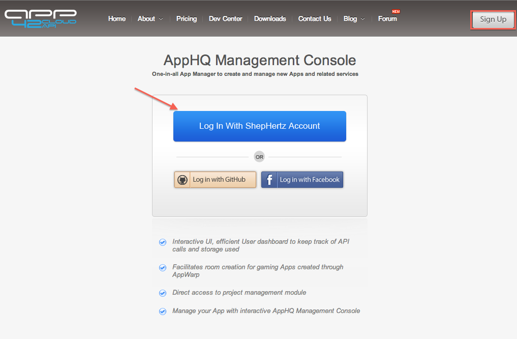 Register / Login to AppHQ Console