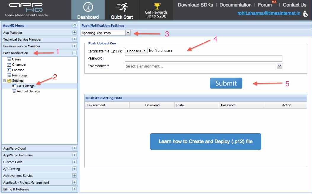 Configure Your App on APP42 Platform for Push Notification