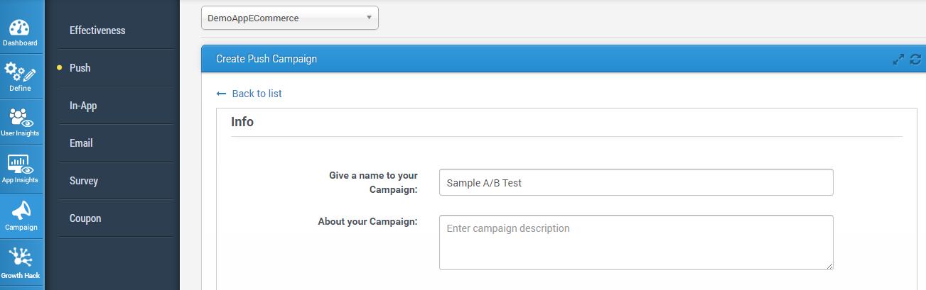 Create Push Campaign